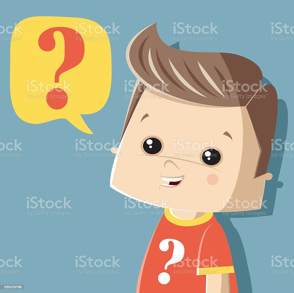 asking little boy vector art illustration