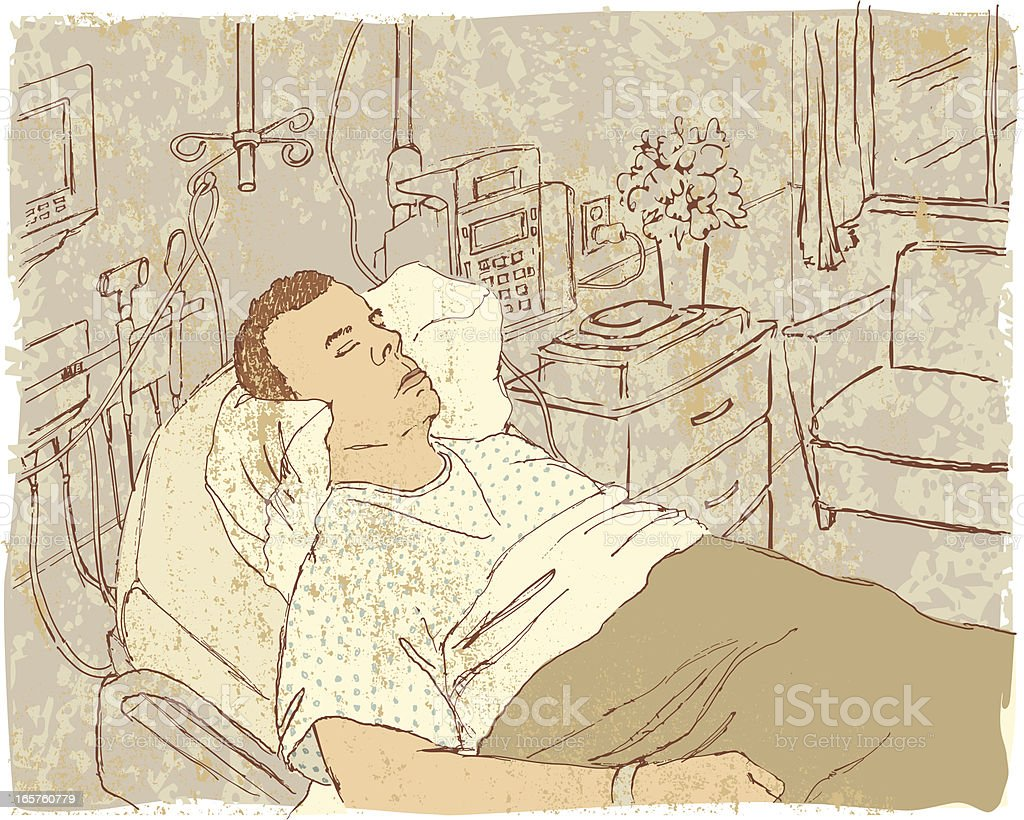 Asleep in a Hospital Room royalty-free stock vector art