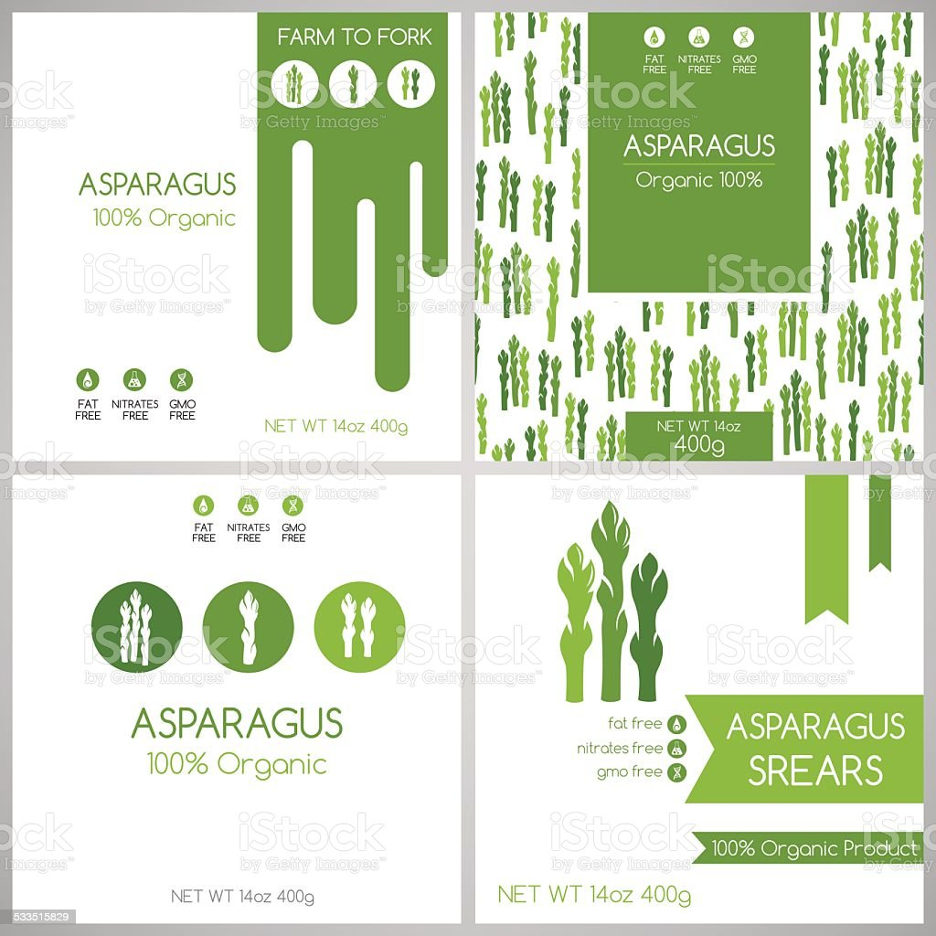 Asparagus labels set. vector art illustration
