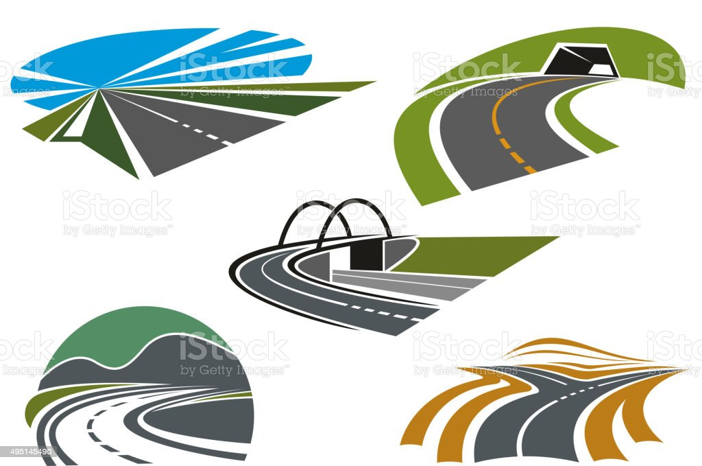 Asphalt highways and roads abstract icons vector art illustration