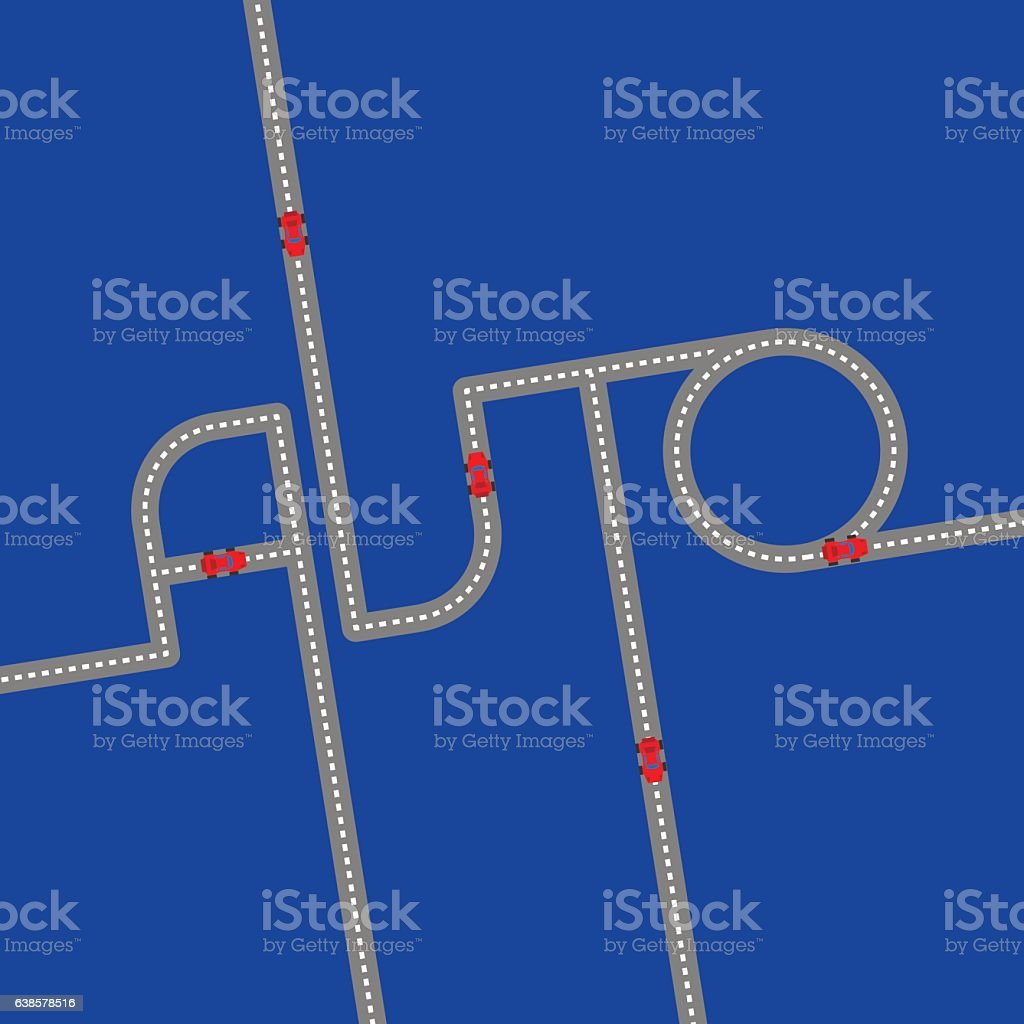 Asphalt road in the form of word 'Auto' on blue vector art illustration