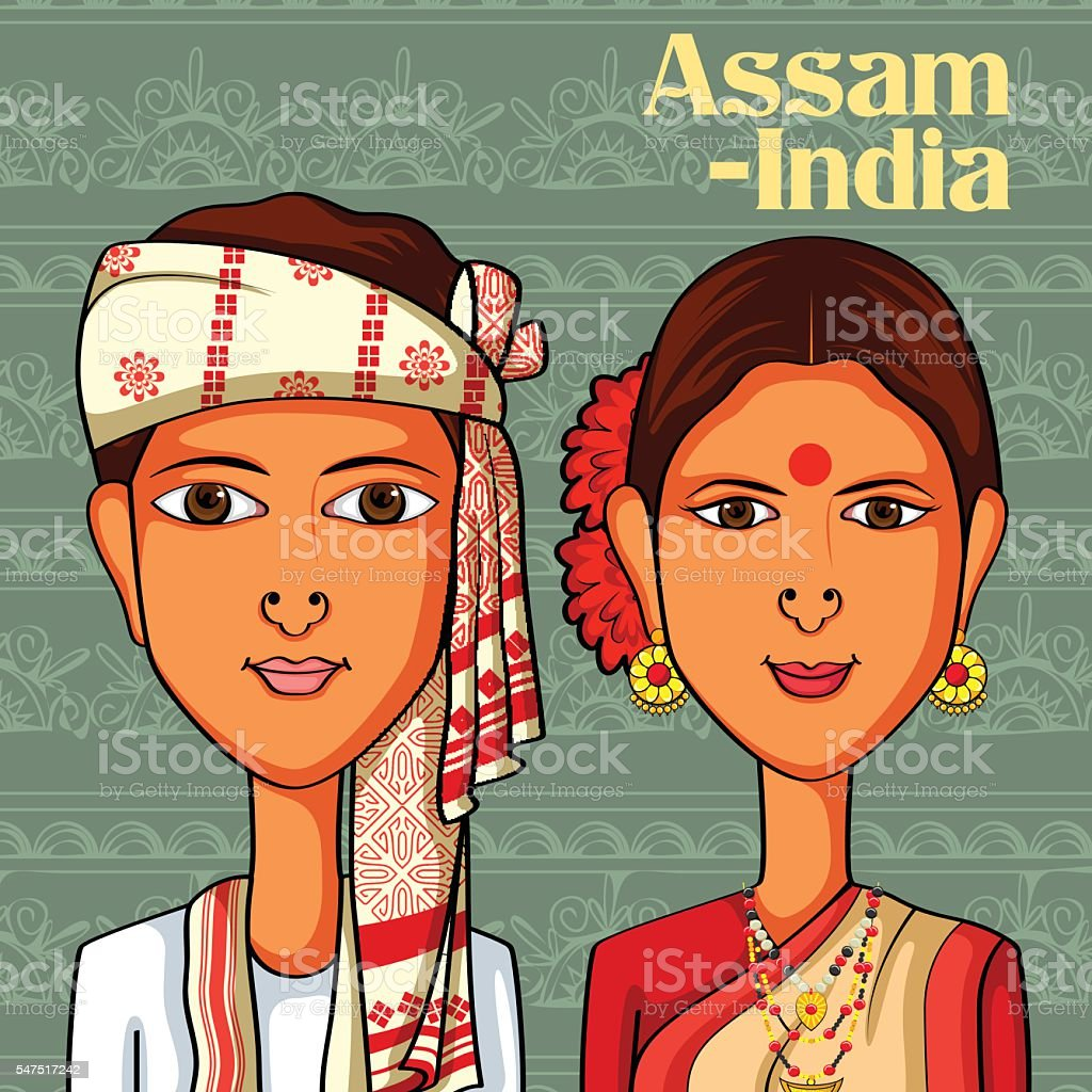 Assamese Couple in traditional costume of Assam, India vector art illustration