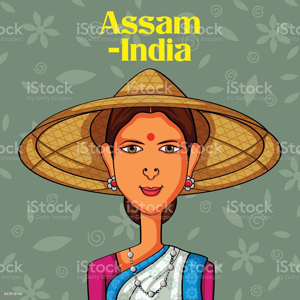 Assamese Woman in traditional costume of Assam, India vector art illustration