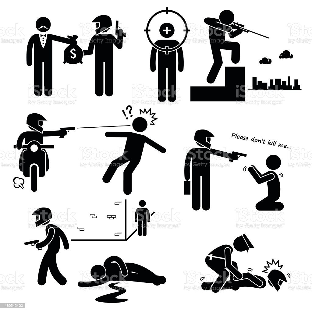 Assassination Hitman Killer Murder Gunman Stick Figure Pictogram Icons vector art illustration