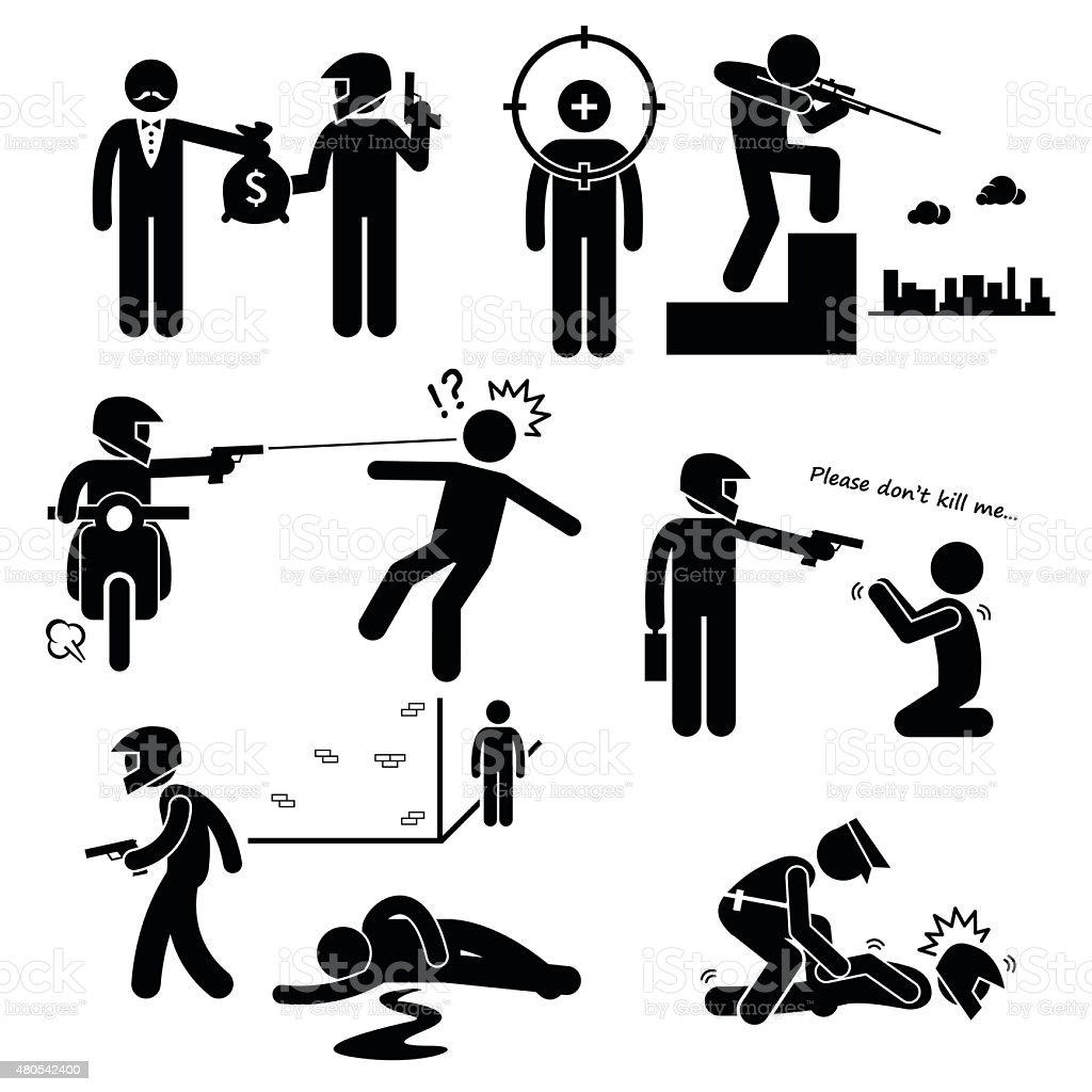 Assassination Hitman Killer Murder Gunman Stick Figure Pictogram Icons vector art illustration