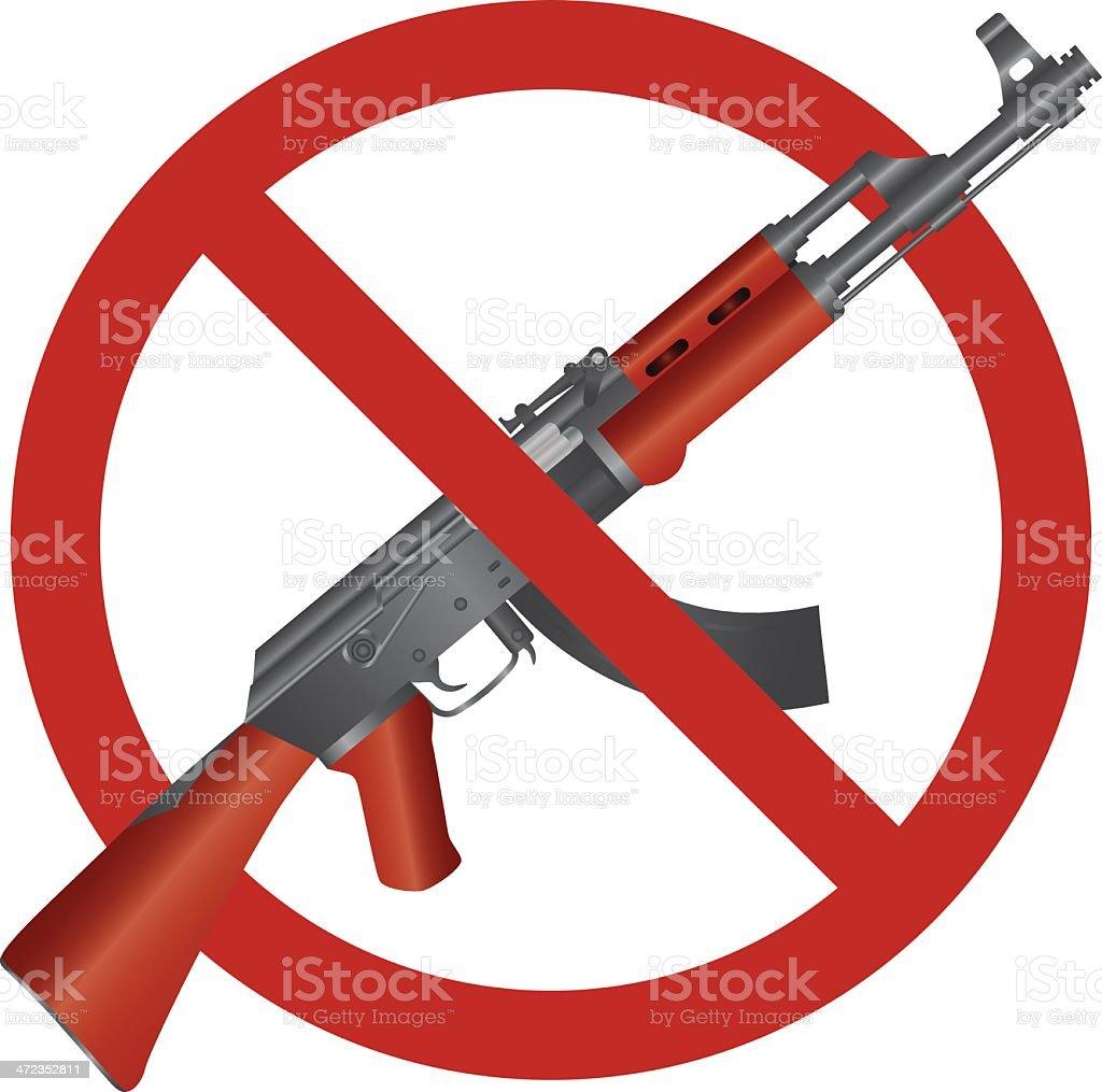 Assault Rifle AK 47 Gun Ban Vector Illustration royalty-free stock vector art