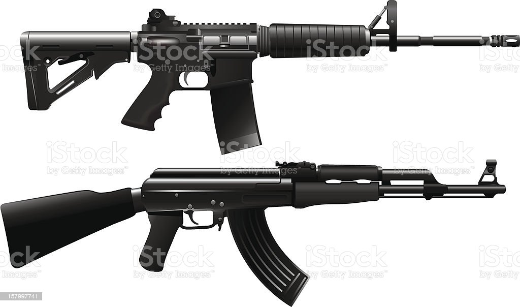Assault rifle weapon vector art illustration