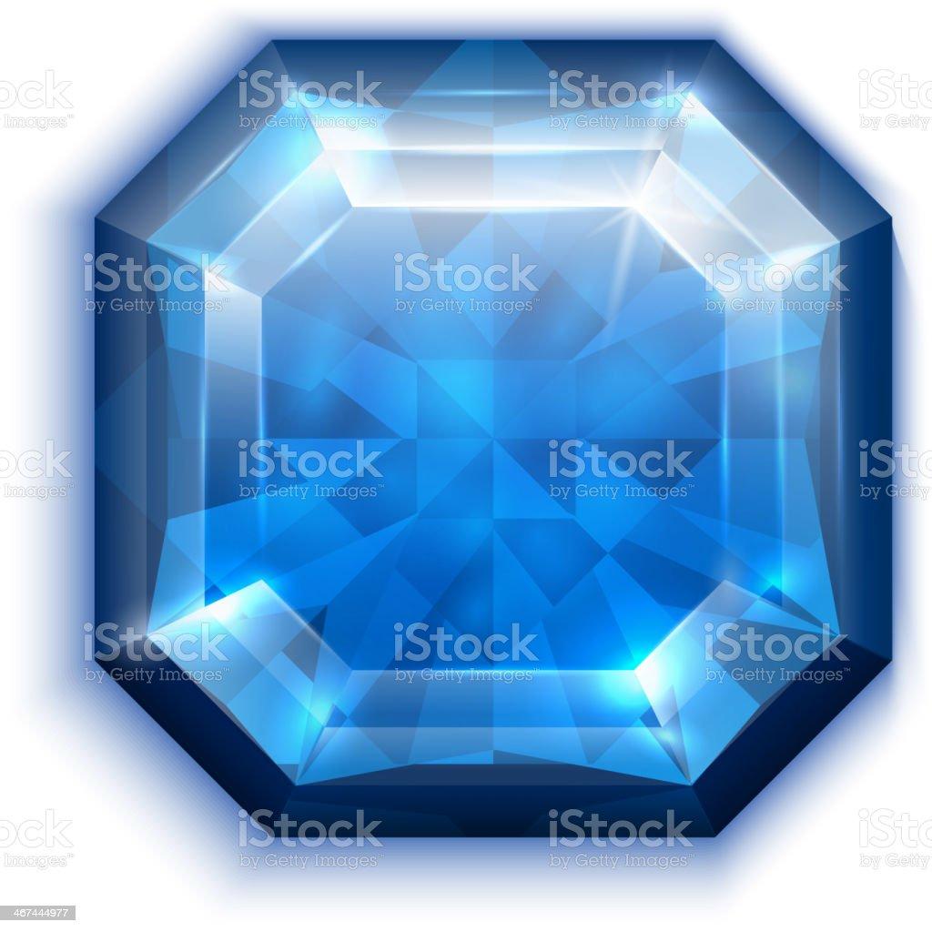 Asscher cut blue diamond icon royalty-free stock vector art