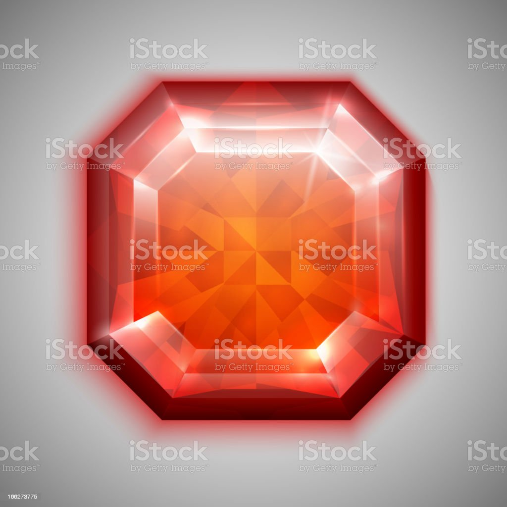 Asscher ruby royalty-free stock vector art
