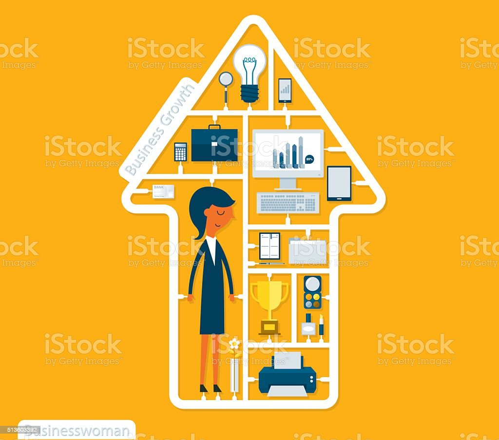 Assemble Businesswoman vector art illustration