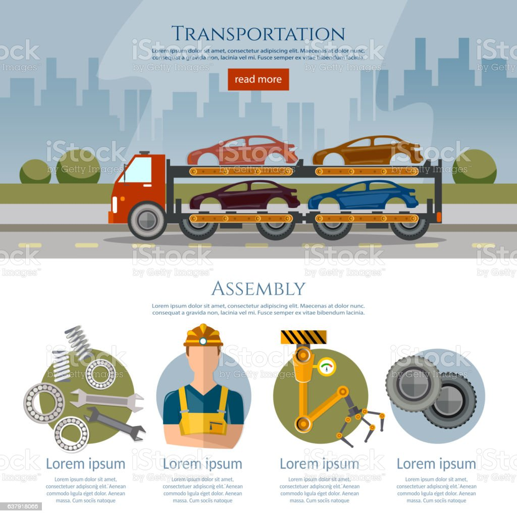 Assembly and transportation of cars. vector art illustration