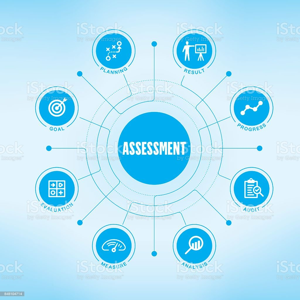 Assessment chart with keywords and icons vector art illustration