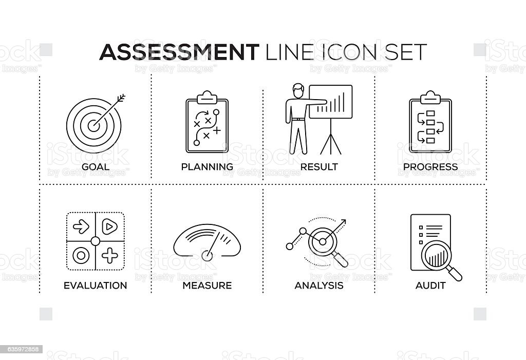 Assessment keywords with monochrome line icons vector art illustration