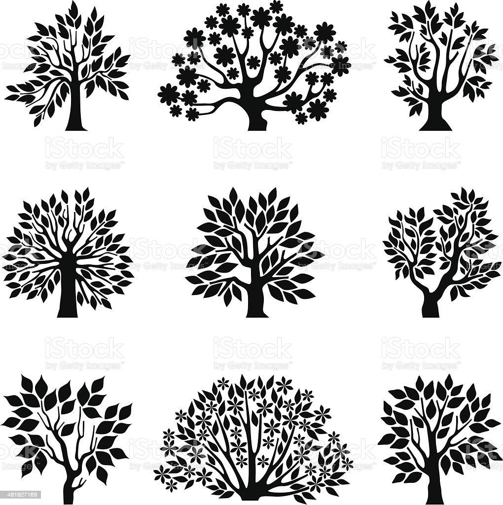Assimetrical trees, set II royalty-free stock vector art