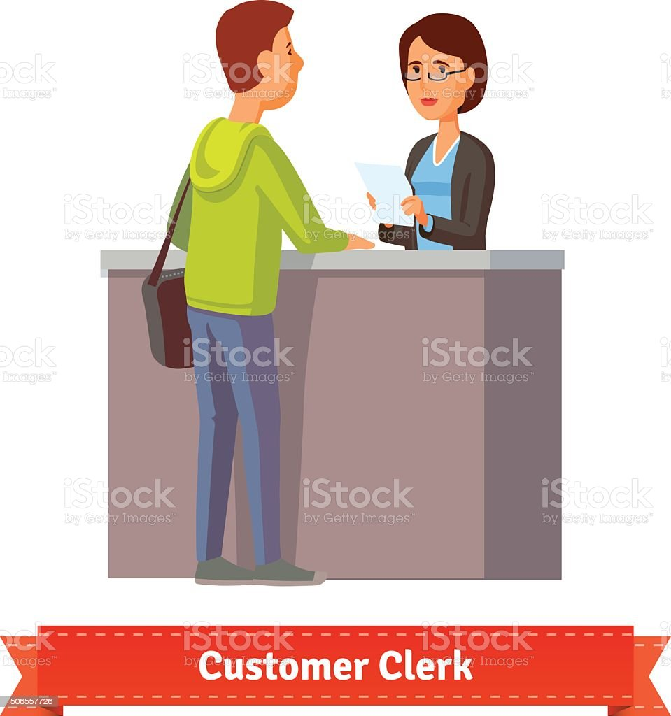 Assistant clerk working with customer vector art illustration