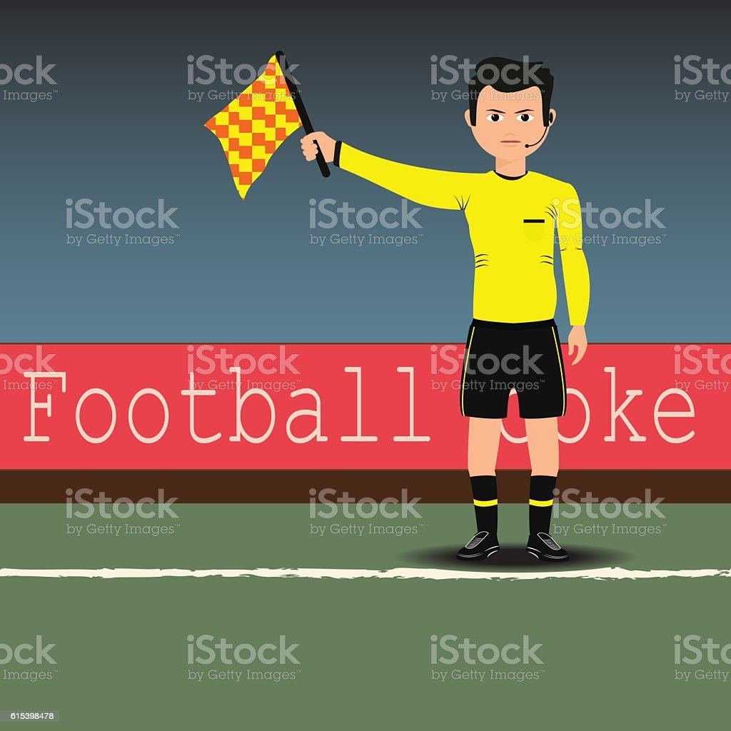 Assistant referees with flag on the soccer match. Vector vector art illustration