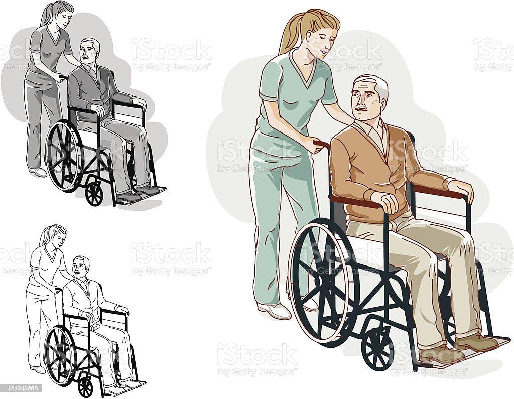 Оказание помощи пожилых гостей с ограниченными возможностями в инвалидных креслах и безопасности Сток Вектор Стоковая фотография