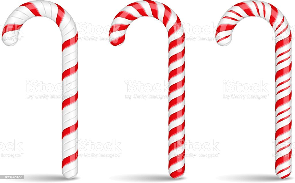 Assorted and sweet looking candy canes vector art illustration