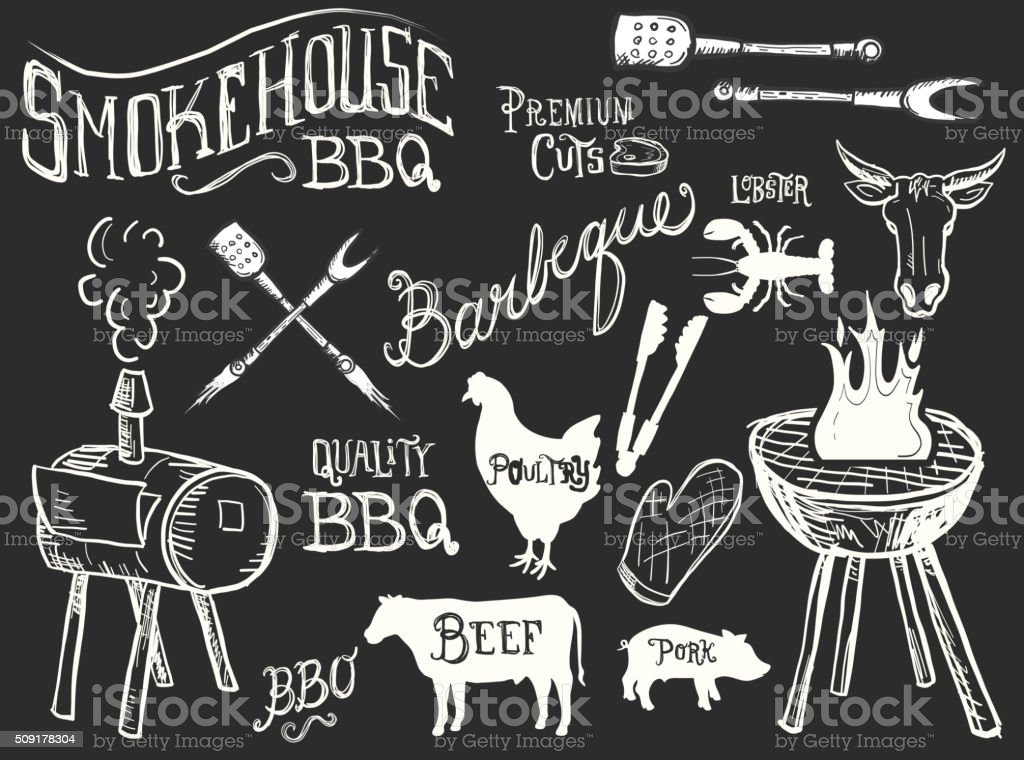 Assorted barbecue, beef, chicken and pork, labels vector art illustration