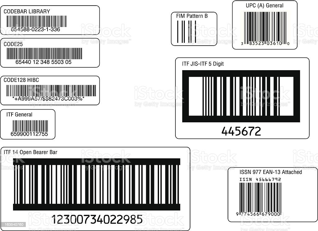 assorted barcodes 01 royalty-free stock vector art