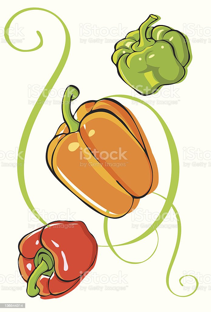 Assorted bell peppers royalty-free stock vector art
