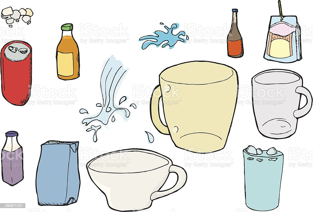 Assorted Beverage Images royalty-free stock vector art