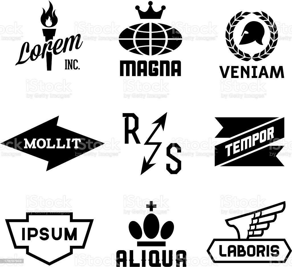 Assorted black and white vintage logos vector art illustration