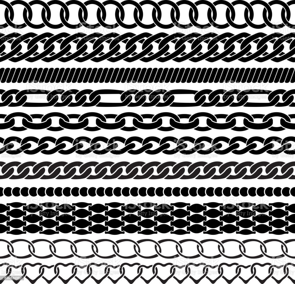 Assorted black chains on white vector art illustration