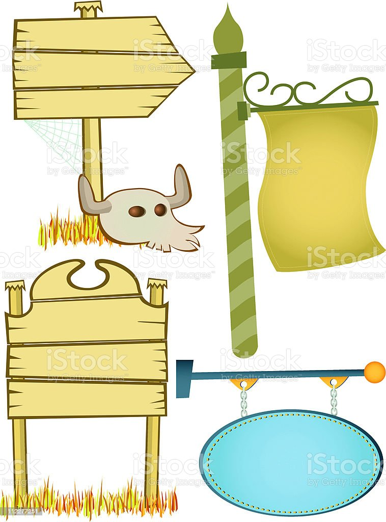 Assorted Blank Signs royalty-free stock vector art