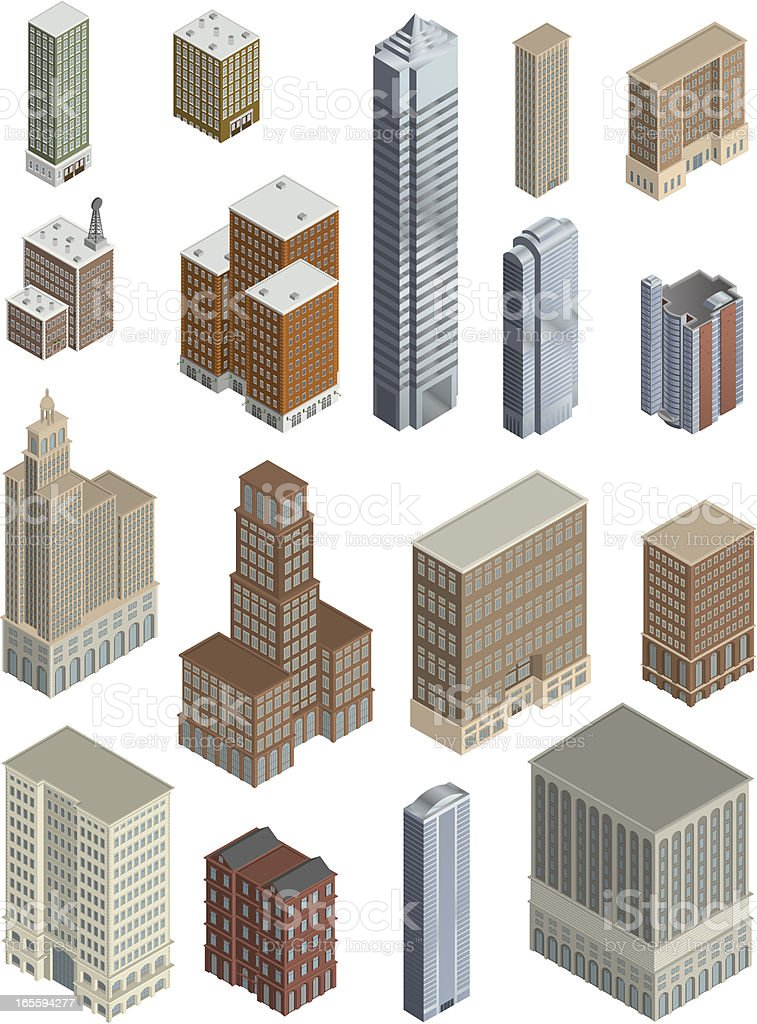 Assorted Buildings royalty-free stock vector art