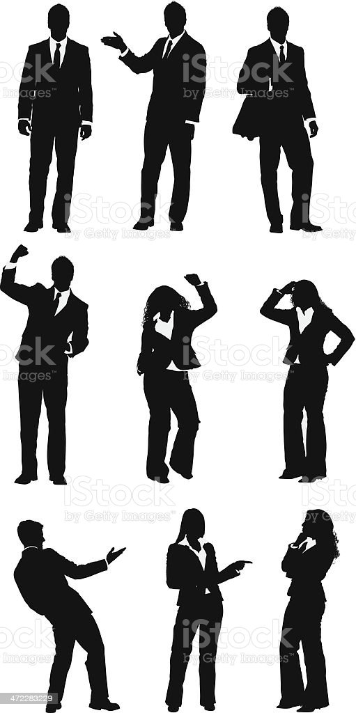 Assorted business people vector art illustration