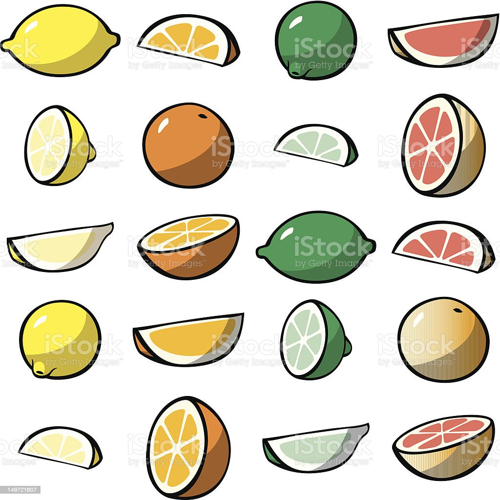 Assorted Citrus Pieces royalty-free stock photo