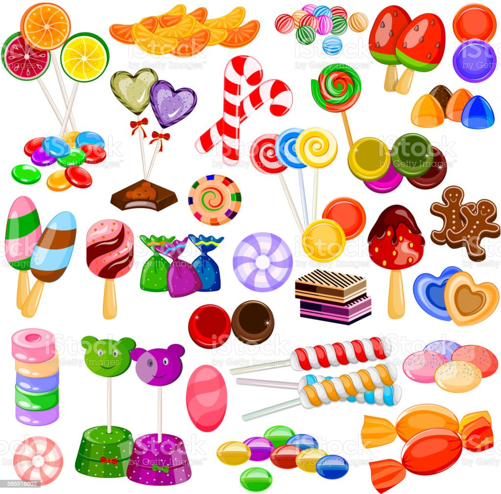 Assorted colorful Candy Collection vector art illustration