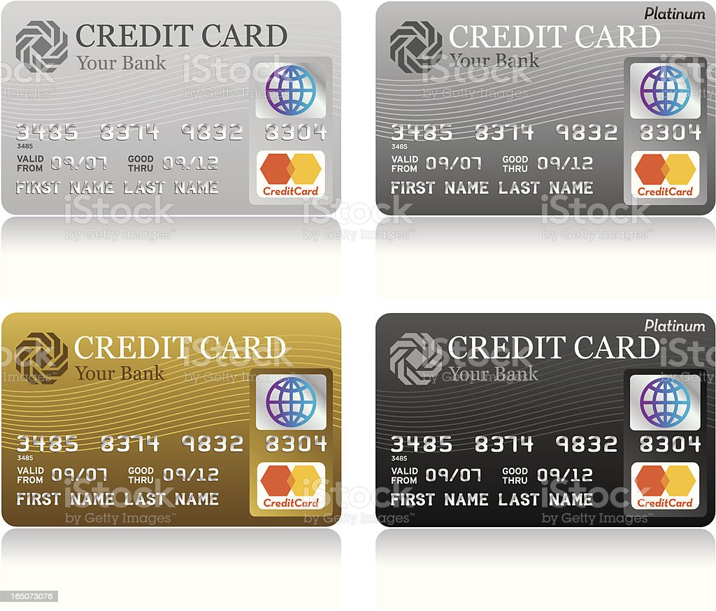 Assorted credit cards royalty-free stock vector art