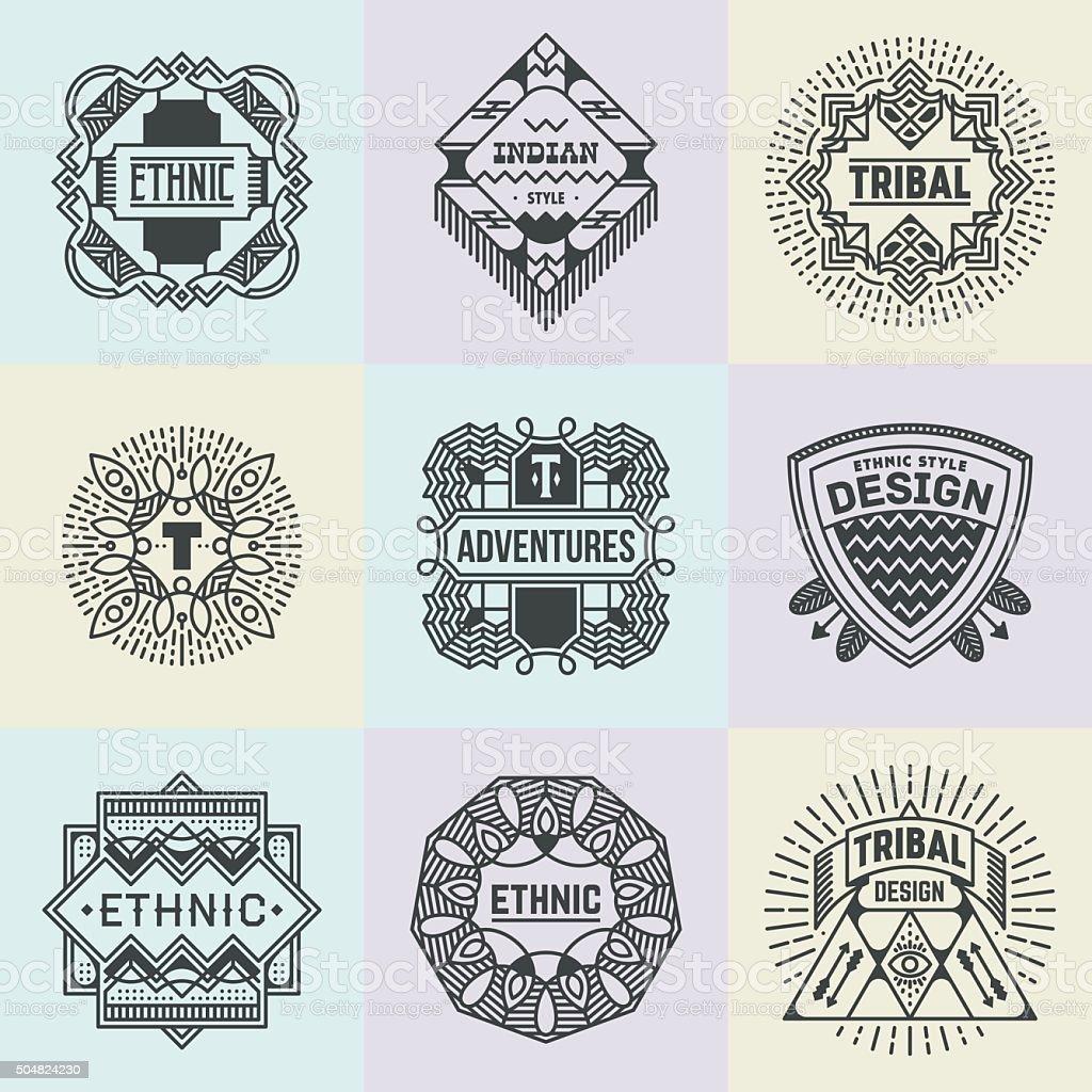 Assorted Ethnic Tribal Insignias Logotypes Template Set. vector art illustration