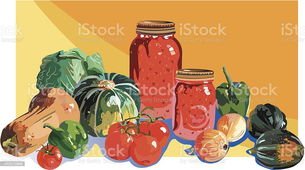 Assorted Fall Harvest Foods and Mason Canning Jars Illustration royalty-free stock vector art