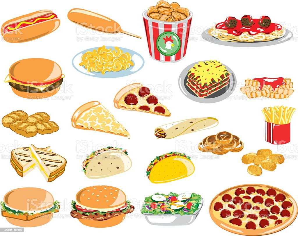 Assorted Fast Food Icons vector art illustration