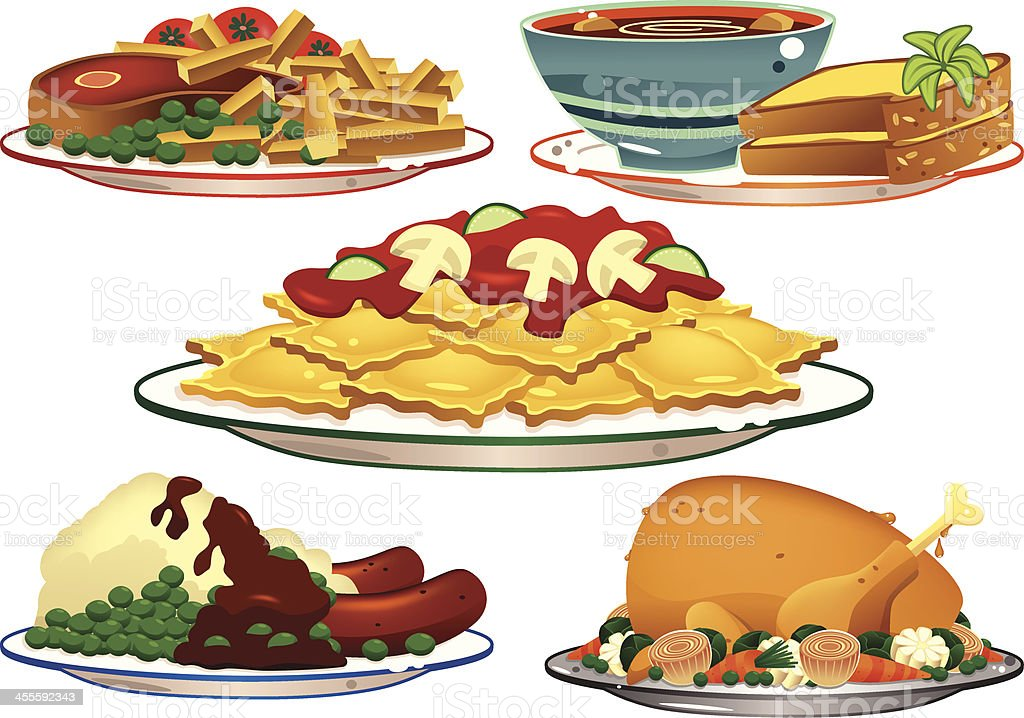 Assorted food dishes vector art illustration