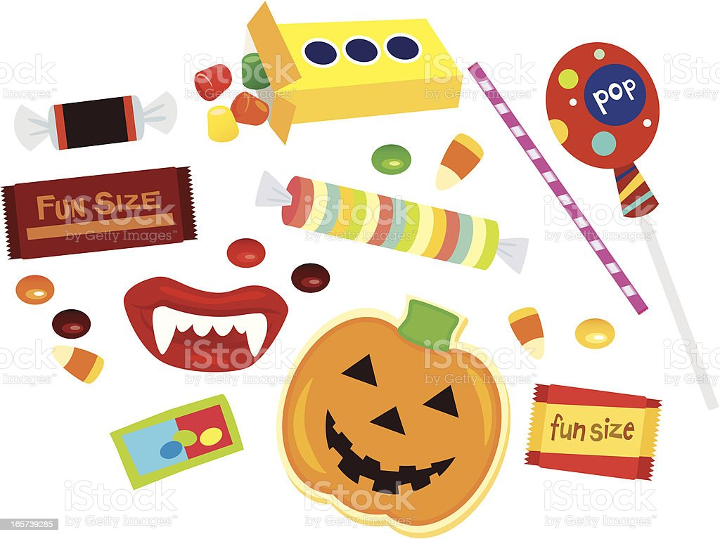 Assorted fun size Halloween candy vector art illustration