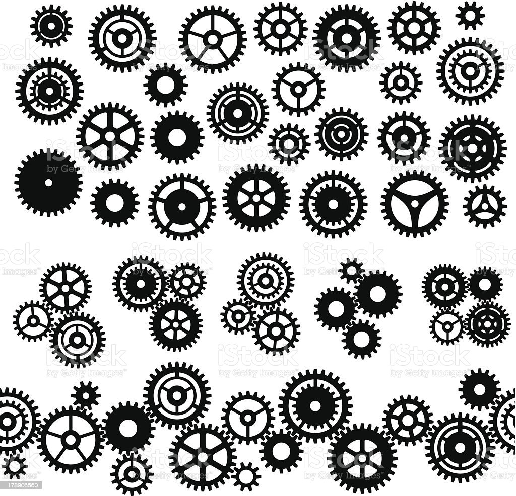 Assorted Gears and cog icons and symbols vector art illustration