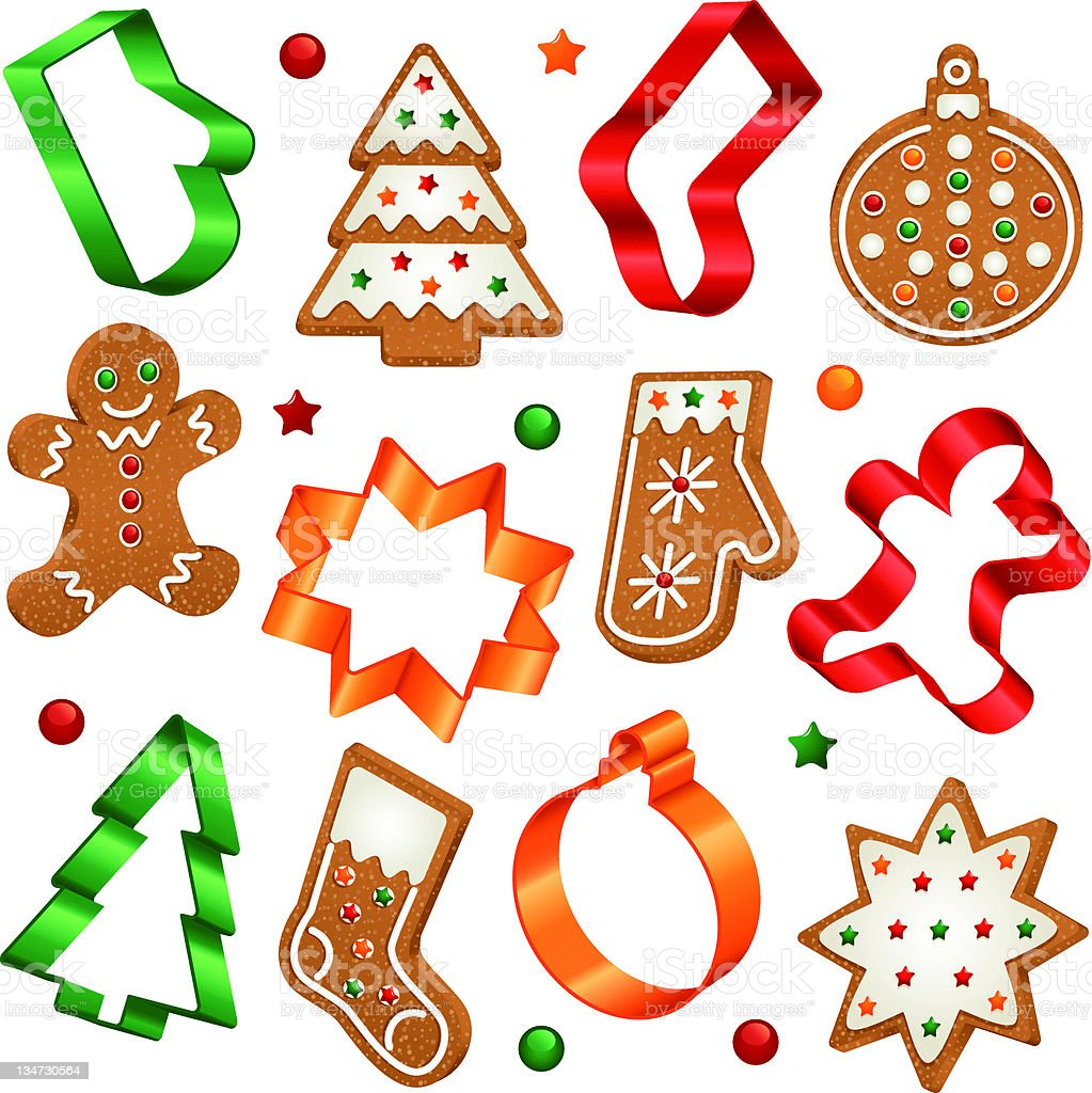 Assorted gingerbread cookies and they're cutters vector art illustration