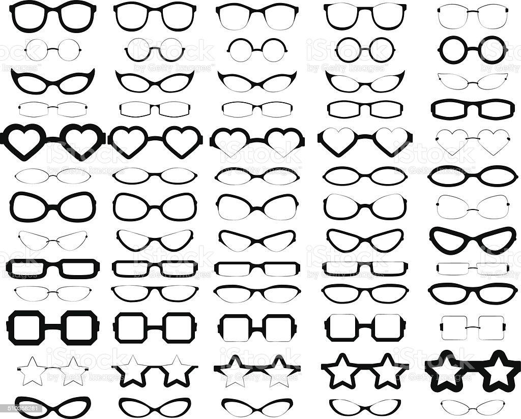 Assorted Glasses Silhouettes vector art illustration