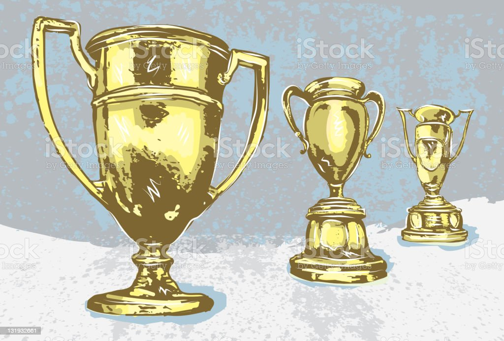 Assorted gold vintage trophies vector art illustration