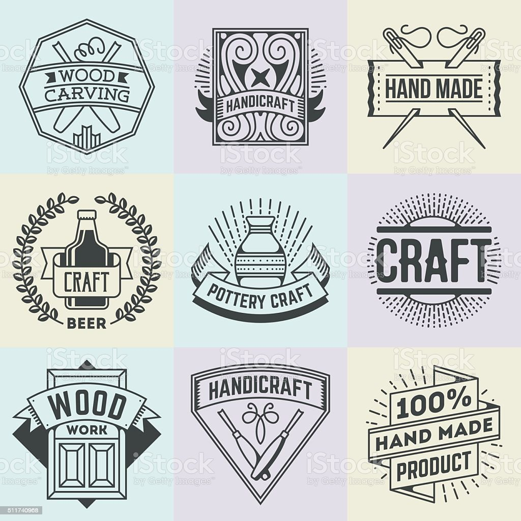 Assorted Hand Craft Insignias Logotypes Template Set. vector art illustration