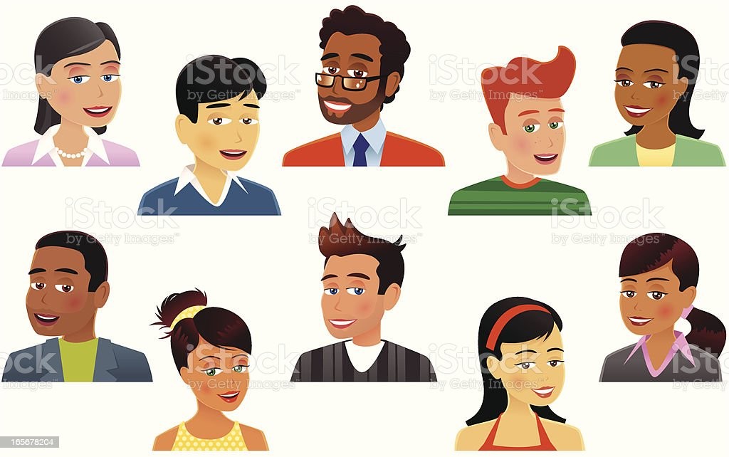 Assorted human heads plus shoulders royalty-free stock vector art