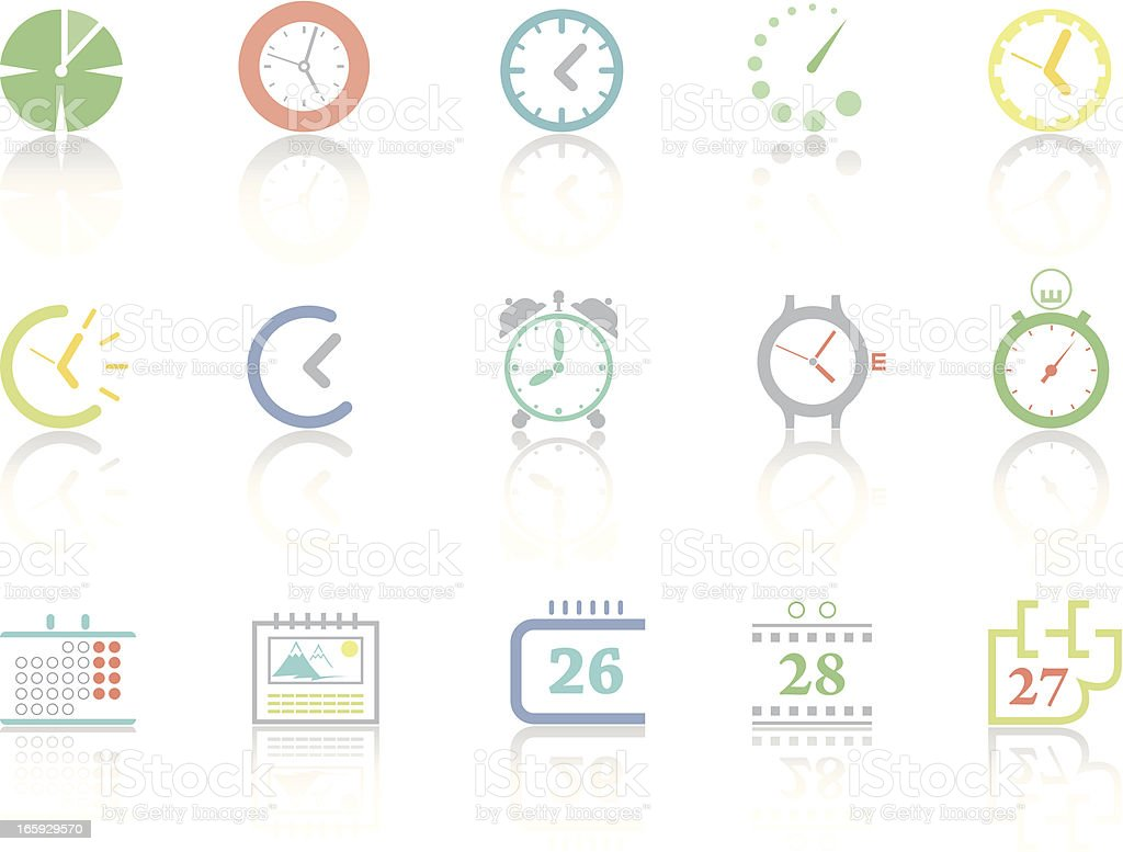 Assorted icons of clocks and calendars royalty-free stock vector art