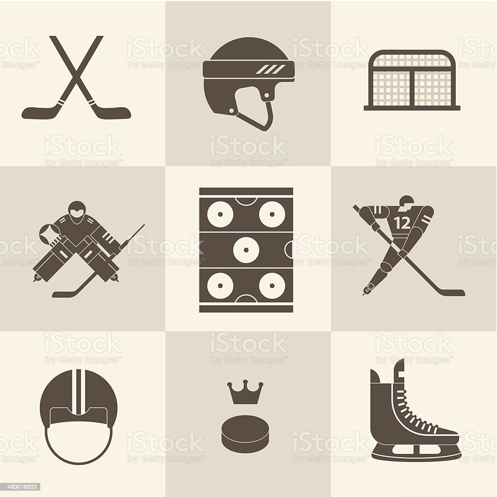 Assorted illustrated hockey equipment icons vector art illustration