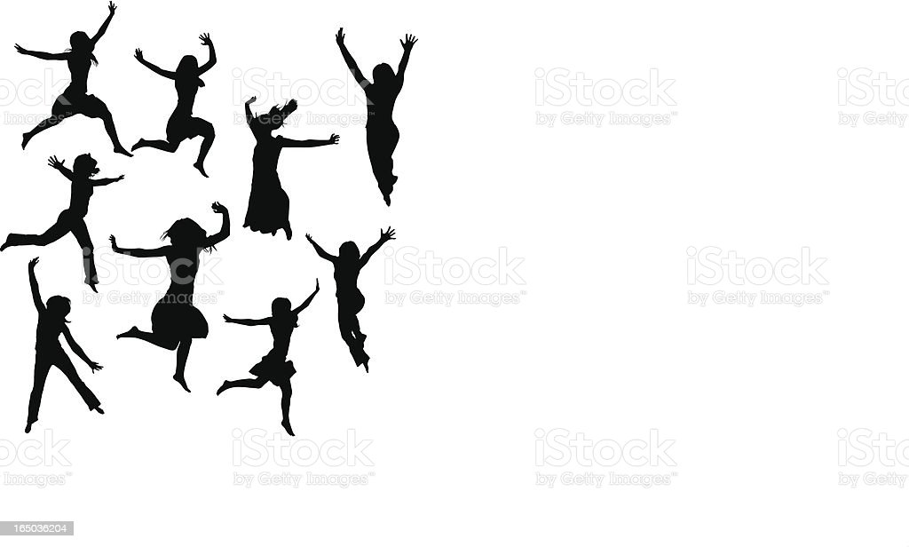 Assorted jumping females royalty-free stock vector art