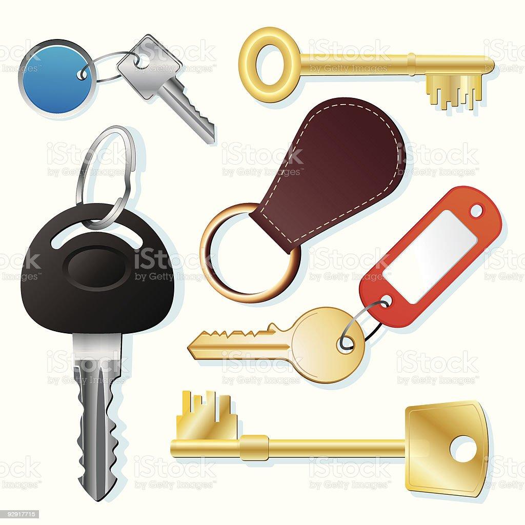 Assorted keys and fobs (vector & jpeg) vector art illustration