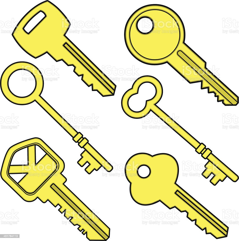 Assorted Keys royalty-free stock vector art